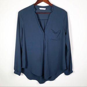 Lush | Dark Blue Split Neck Button Sleeve Medium